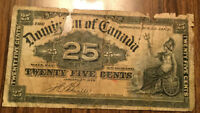 1900 Dominion of Canada 25 cents Paper bill money