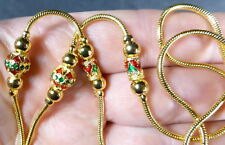"Thai gold dipped & enameled snake chain necklace to hold 1 BUDDHA amulet 24"". C"
