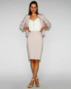NEW EXPRESS $198 LILAC LINEN BLEND CUTAWAY BLAZER PENCIL SKIRT 2PC SUIT SZ 12