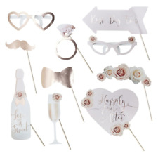 Wedding Photo Booth Props - Rose Gold Floral Design