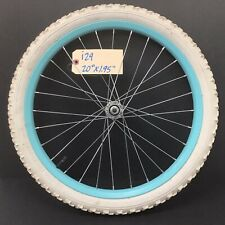 """20"""" Bicycle Front Blue Wheel with 1.95"""" White Tire Bmx Kids Bike #i29 Complete"""