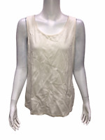 Isaac Mizrahi Live! Women's Essentials Scoop Neck Tank Top Cream Medium Size