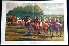 London Derby FALSE START 1883 HORSE RACING JOCKEYS Sturgess Color Lithograph