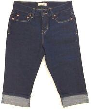 Levis 515 Capri Cropped Jeans Cuffed Dark Blue Denim Low Rise Size 4 W29xL16