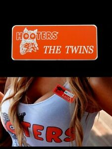 The Twins Real Hooters Girl Uniform Name Tag Pin Halloween Costume Accessory