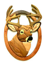 Buck Head Deer Intarsia Wood Wall Art Home Decor Plaque Western Lodge New