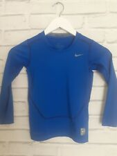 Kids Boys NIKE Dri Fit PRO COMBAT Blue Long Sleeve Sport Top - 8-10 years