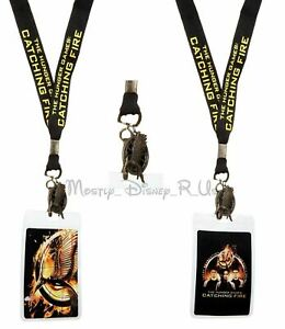 The Hunger Games Catching Fire Trio ID Holder Lanyard W/ Mockingjay Metal Charm
