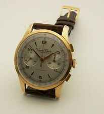 Large 38mm Vintage 1950's 18K Rose Gold Wonder Watch Chronograph Near Mint 211