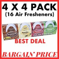 4x4 PACK(16 Total) PMS CAR/ROOM MINI GEL AIR FRESHENERS,ASSORTED GREAT SCENTS