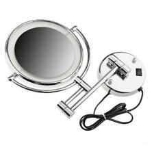 2 lato led specchio di montaggio a parete chiaro 3x ingrandimento trucco