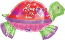 """HUGE Anagram LOVE TAKES TIME Turtle Valentine's Day Birthday Foil Balloon 37"""""""