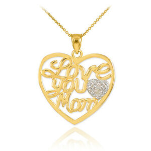 """Mother's Day Gifts 14K Gold Diamond Pave Heart """" Love You Mom """" PENDANT Necklace"""