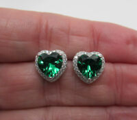 Emerald CZ Heart Earrings 925 Sterling Silver May Birthstone 3.4ct Post Studs