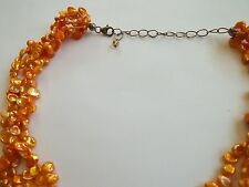 """freshwater pearl necklace,multi strand,yellow color,14""""+3""""extension,925 clasp"""