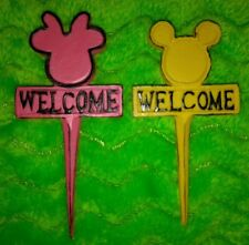 Disney Mickey & Minnie Mouse Mini Welcome Signs Garden Plant Stakes Decor NEW