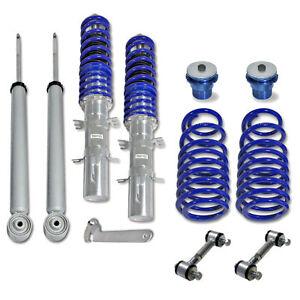 Blu Linea Pressione Gas Coilover + Sport Barre Accoppiamento VW Golf 4 Bora /