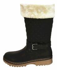 Womens Fur Lined Winter BOOTS Ladies High Top Ankle Shoe Girls Grip Sole Trainer Long Buckle BOOTS Black 3 UK