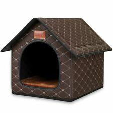 Pet Dog Cat House Beds Kennel Indoor Raised Tent Cushion Mat Microfiber Leather