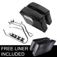 Hard Saddlebags Speaker Lid W/ Conversion Brackets Fit For Harley Softail 84-16