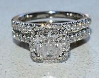 2.70Ct Cushion-Cut Diamond Halo Bridal Set Certified Engagement Ring in14K Gold