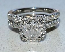Certified 2.70Ct Cushion-Cut Diamond Halo Bridal Set Engagement Ring in14K Gold
