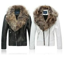 Mens High End Fur collar Leather Coat Short Jacket Motorcycle Zipper Thick Warm