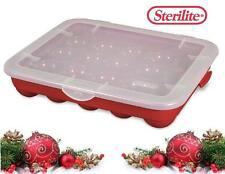 4-pk STERILITE Plastic 20 CHRISTMAS ORNAMENT STORAGE Cases BOXES Red Stackable