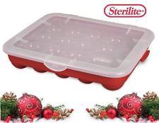 1 STERILITE Hard Plastic 20 CHRISTMAS ORNAMENT STORAGE Case BOX *Red Stackable