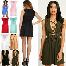 Womens Ladies 70'S Lace Up Eyelet Detail Frill Back Flared Mini Skater Dress Top