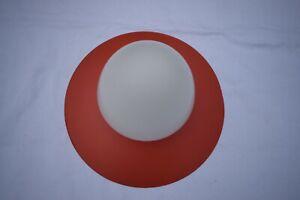 alte kleine Deckenlampe Licht Leuchter 50/60 er Jahre Metall/Glas rot/weiß