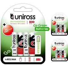 12 x Uniross HYBRIO AAA 800 mAh Rechargeable Batteries, Pre Charged NiMH HR03