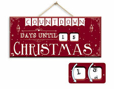 """Traditional Wooden Countdown """"Days until Christmas"""" Hanging Advent Xmas Calendar"""
