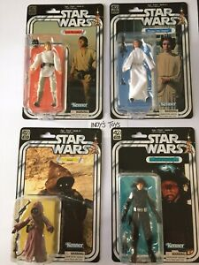 Star Wars Black Series 40th Anniversary Lot Of 4: Luke, Leia, Jawa,Death Squad