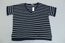 Moth for Anthropologie Women's S/S Striped Pullover Sweater SV3 Blue Small NWT