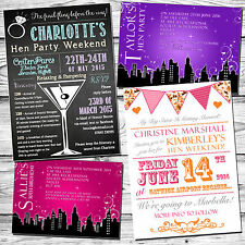 10 Hen Party Evening Night Invitations Itinerary Diary Cards Weekend Away Girlie