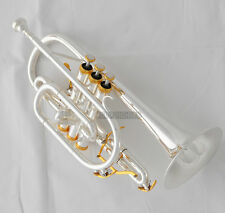 Professional Silver Gold plated Cornet Bb Keys Double Triggers Trumpet With Case