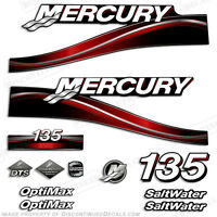 2005 Red Mercury 135hp Saltwater Optimax Outboard Engine Decals Reproduction Kit