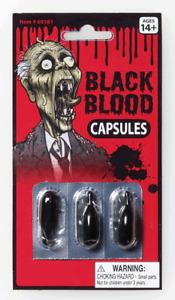 Halloween Black Blood Capsules Costume Zombie Accessory