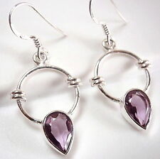 Faceted Amethyst Round Earrings 925 Sterling Silver Rope Style Accents Hoop