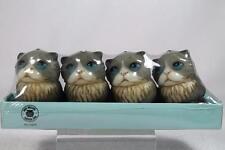 Harmony Ball Pot Bellys Shape 'Grey Kitten Tea Light Candles' Set 4 #Ctki New