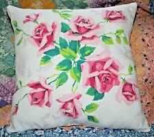 Vintage Wilendur Pink Royal Roses Mid Century Farmhouse Tablecloth Throw Pillow