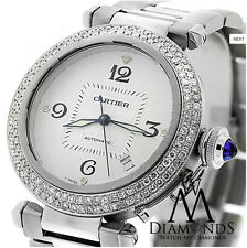 Cartier Pasha W31059H3 38mm Automatic 2 Row Diamond Bezel with Box & Papers