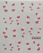 Accessoire ongles: nail art - Stickers autocollants - motifs coeur rose et blanc