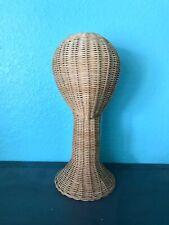 "Vintage Wicker Hat Wig Display Head Mannequin 16"" Beautiful Design & Condition!"