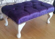 purple crushed velvet footstool ottaman