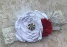 White & Red Triple Flower Jeweled Wide Stretch Lace Headband