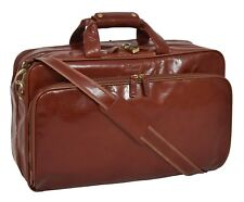 Cognac Leather Holdall Suit Carrier Luggage Business Travel Cabin Bag