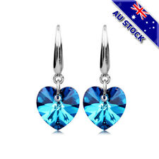 925 Sterling Silver Filled Blue CZ Crystal Love Heart Drop Bridesmaid Earrings