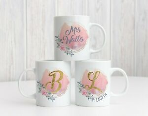 PERSONALISED MONOGRAM FLORAL GOLD LETTER WITH ANY NAME MUG PRESENT GIFT 11OZ/6OZ
